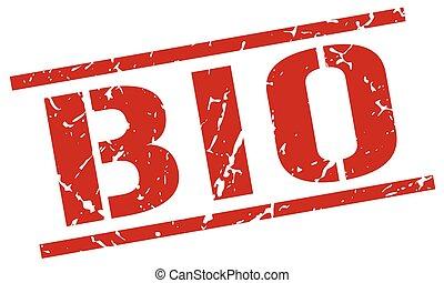 bio red grunge square vintage rubber stamp