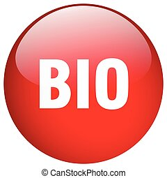 bio red round gel isolated push button