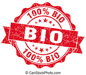 bio red vintage seal isolated on white