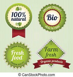 Eco Retro Labels template set. Vintage bio logo template