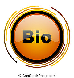 bio round design orange glossy web icon