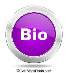 bio round glossy pink silver metallic icon, modern design web element