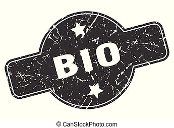 bio round grunge isolated stamp