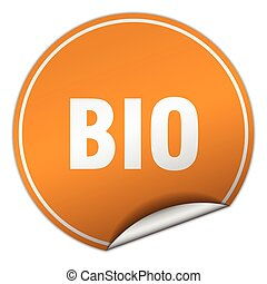 bio round orange sticker isolated on white