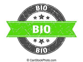 bio round stamp with green ribbon. bio