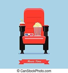 bio, säte, med, popcorn, dricka, och, glasögon
