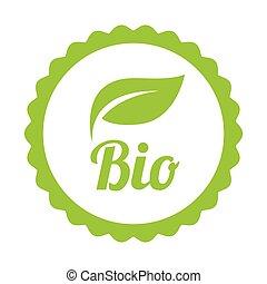 bio, símbolo, verde, ou, ícone
