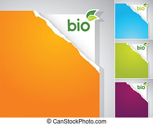 bio, segno., set, carte, teared