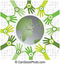 bio, set, iconen, model, milieu, groene, handen, waiving, wereld, cirkel, duurzaam, gevulde