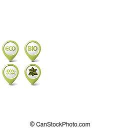 bio, set, markeringen, voedingsmiddelen, eco, organisch, natuurlijke , groene