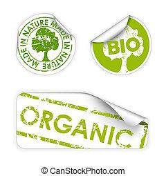 bio, set, organisch, eco, etiketten, /