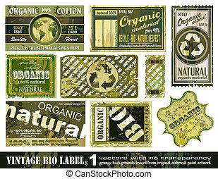 bio, set, ouderwetse , etiketten, -, verzameling, 1