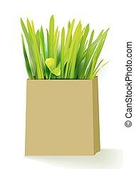 Bio shopping bag with grass