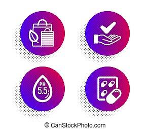 bio, shopping, icone, set., leaf., organico, pillola, esaminato, capsula, vettore, dermatologically, acqua, ph, neutrale, segno.