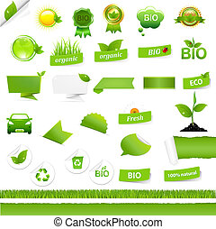Bio Signs Set, Isolated On White Background, Vector...
