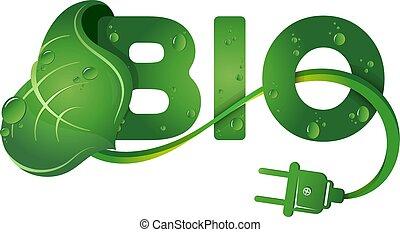 bio, simbolo, e, foglia verde