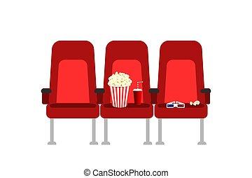 bio, sittplatser, in, a, film, med, popcorn, drycken, och, glasses., lägenhet, vektor, tecknad film, bio, sittplatser, illustration., film, bio, premiär, affisch, begrepp, design., visa, time.
