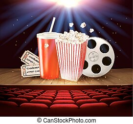 bio, skaffar, på, a, trä, arrangera, -, dricka, popcorn, tickets., vector.