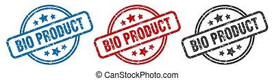 bio, stamp., ラベル, セット, 隔離された, プロダクト, 印。, ラウンド