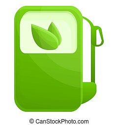 bio, style, carburant, stand, icône, dessin animé