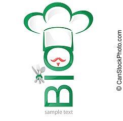 bio, symbole, blanc, isolé, restaurant