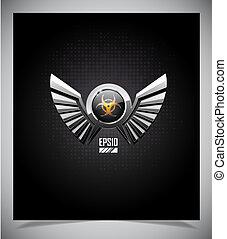 bio, symbole, bouclier, danger, ailes