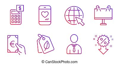 Bio tags, Human and Road banner icons set. Finance, Calculator and Internet signs. Love chat, Discount symbols. Vector