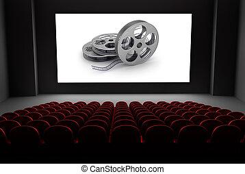 bio, teater, med, rullar, av, film