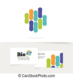 Bio technology logo with abstract color genetic...
