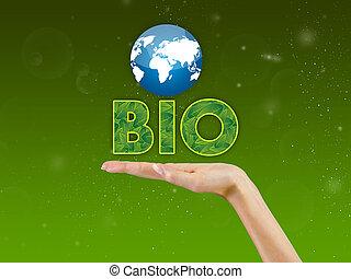 bio, text, handfläche, hand