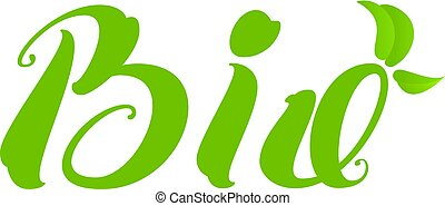 Bio text natural healthy product green leaf symbol