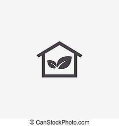 bio, thuis, pictogram