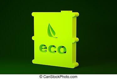 bio, trumma, illustration, concept., ikon, minimalism, drivmedel, bakgrund., miljö, grön, gul, canister., 3, recycle., isolerat, render, eco
