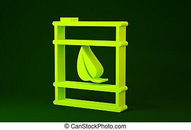 bio, trumma, illustration, concept., ikon, minimalism, fodra, drivmedel, bakgrund., miljö, grön, gul, canister., 3, recycle., isolerat, render, eco