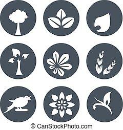 bio, uccello, fiore, natura, semplice, foglia, astratto, bianco, -, naturale, elemento, simboli, albero, vettore, disegno, organico, cerchio, spikelet