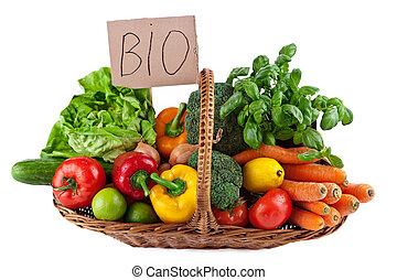 bio, vegetales, arreglo