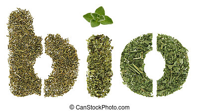 Bio word made of green herbs and spices