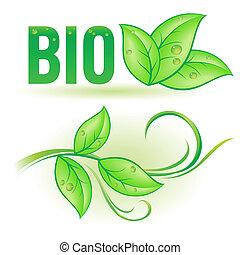 Bio word with leaf elements