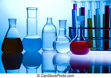 Biochemistry Laboratory and glass - Equipment of a research...