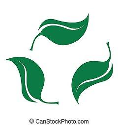 biodégradable, plastique, feuilles, logo, set., vert, icon., bio, recyclable