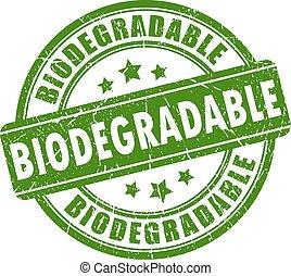 biodégradable, timbre, caoutchouc