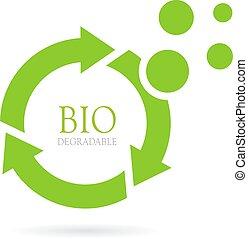biodegradável, vetorial, abstratos, ícone