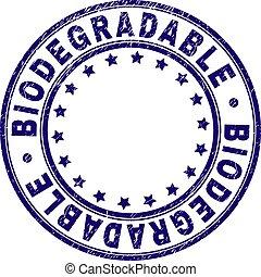 biodegradable, グランジ, 切手, textured, シール, ラウンド