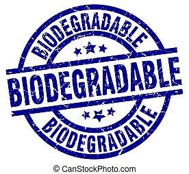 biodegradable blue round grunge stamp