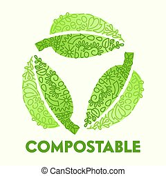 Biodegradable Compostable Recyclable Plastic Package Icon in Shape of Circulate Green Leaves with Doodle Drawing Bio Degradable Label Logo Poster Banner Flyer Brochure Cartoon Flat Vector Illustration