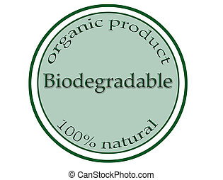 biodegradable - round green stamp with text biodegradable...