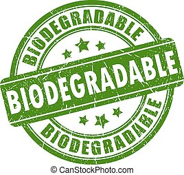 biodegradable, estampilla, caucho