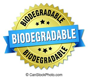 biodegradable round isolated gold badge