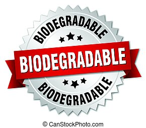 biodegradable round isolated silver badge