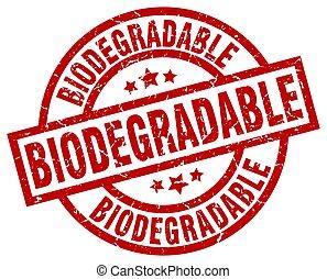 biodegradable round red grunge stamp
